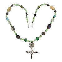 Sterling Silver Turquoise Multi Bead Necklace w/ Old 925 Ankh