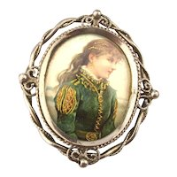 Old Victorian Pin Brooch w/ Embossed Gilded Girl Print