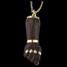 Vintage Carved Wood FIGA Fist Pendant Necklace Amulet Hand