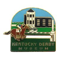 Vintage Kentucky Derby Enamel Lapel Pin - Mechanical Horse Race