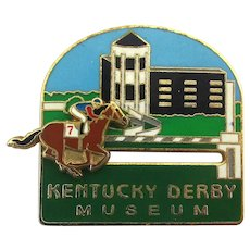 Vintage Kentucky Derby Enamel Lapel Pin - Mechanical Horse Race