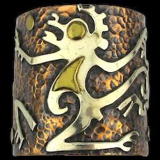 Vintage MAYA Mexico Mixed Metals Cuff Bracelet - Book Piece