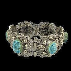 Vintage Scarab Beetle Stone Filigree Bracelet