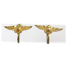 WWII Sterling Silver USN USMC USCG Pilot Wings Earrings