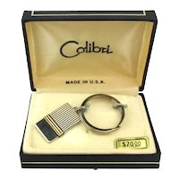 Vintage COLIBRI Sterling Silver 14K Gold Key Chain Ring in Box