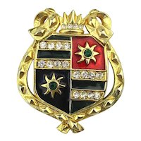 Enamel Rhinestone Shield Crest Pin Brooch - Looks Important