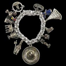 Vintage Sterling Silver Charm Bracelet w/ Unique Charms Folding Fan