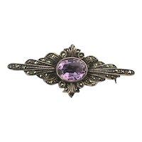Sterling Silver Marcasite Amethyst Pin Brooch