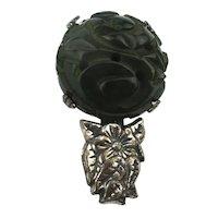 Small Carved Bakelite Flower Pin Art Deco Era
