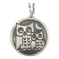 Jorgen Jensen Modernist OWL Pewter Pendant Necklace Denmark