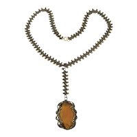 Victorian Amber Glass Drop Necklace w/ Unique Bumpy Chain