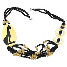 Great Necklace Inlaid Lucite Cat w/  Seed Beads Carved Bone Rings