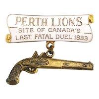Vintage Enamel PERTH LIONS CLUB Pin Canada Duel