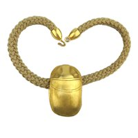 Giant Gilded Lucky SCARAB Amulet Necklace