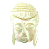 Vintage Handcarved Mother-of-Pearl Pin Ethnic Lady Meditation