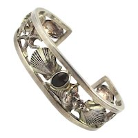 Signed Sterling Silver Cuff Bracelet Beachy Open Sea Creatures