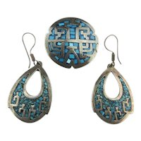 Taxco Reveriano Castillo Sterling Silver Set Earrings Pin / Pendant Inlay