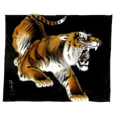 Vintage Japanese Tiger Painting on Black Silk Signed