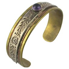 Old Mexican Mixed Metals Cuff Bracelet - Sterling Brass n More