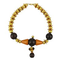 Art Deco Necklace 1930s Bakelite - Gilded Balls n Disks