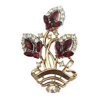 1953 Alfred Philippe Trifari Pin Brooch Flower Basket Rhinestone