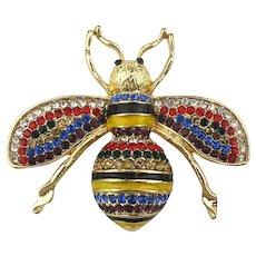Fancy Rhinestone Enamel Bug Insect Pin Brooch