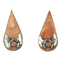 Bold Sterling Silver Peach Jasper Earrings - Pierced Stunners