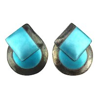 Convertible Modernist Sterling Silver Enamel Earrings