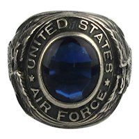Vintage U.S. AIR FORCE Sterling Silver Ring w/ Blue Stone - Eagles