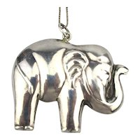 Big Puffy Sterling Silver ELEPHANT Pendant Necklace