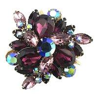 Vintage Rhinestone Flower Pin - AB Color Depth Sparkle