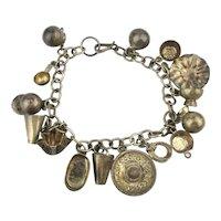 Old Mexican Folksy Handmade Sterling Silver Charm Bracelet