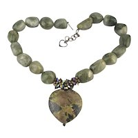 Bold Olive Drab Green Rock Necklace Jasper Heart Sterling Crystal