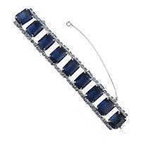 Vintage Big Blue Rhinestone Bracelet