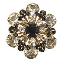 Vintage Sparkler Pin Brooch Black n White Clear