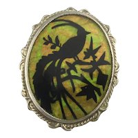 Victorian Silhouette Exotic BIRD of Paradise Pin Brooch
