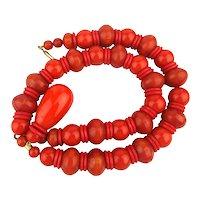 Mega Bakelite Bead Necklace - Orange Jumbo Beads w/ Big Drop