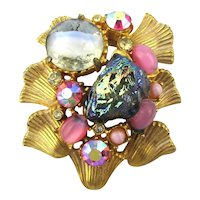 Pretty Vintage Pin w/ Lava Rock AB Moving Art Glass