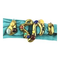 Incredible 4 Piece Gilded Belt Buckle w/ Real Gemstones Signed