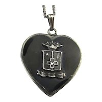 Vintage Greek Key HEART Necklace Sigma Phi Epsilon Sterling Silver