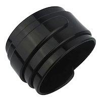 Wide Black Lucite Wrapped Bangle Bracelet