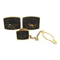 Japanese Damascene 24K Gold Inlay Cufflinks Set
