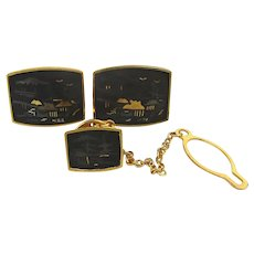 Japanese Damascene 24K Gold Inlay Cufflinks Set