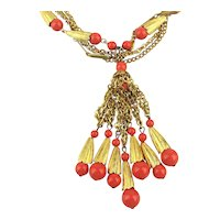Gorgeous Goldtone Necklace Faux Coral Dangles n Beads