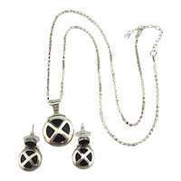 Sterling Silver Pendant Necklace w/ Earrings Set Inlaid Onyx