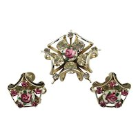 Such a Pretty Vintage Set Pin w/ Earrings Enamel w/ Rhinestones Roses