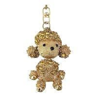 Big Toy Poodle Pendant Necklace Rhinestones and Floppy Ears