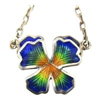 Sterling Silver Enamel Flower Pendant Necklace