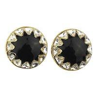 Vintage St. John Enamel Rhinestone Clip Earrings
