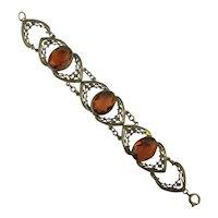 Art Deco Era Bracelet Stamped Brass w/ Amber Glass Stones
